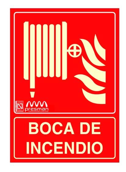 Cartel Boca de incendios equipada BIE