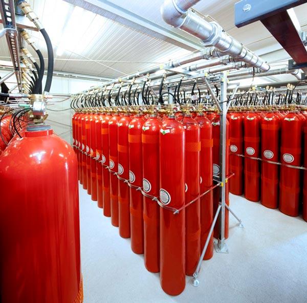 Sistema de extinción de incendios por gas